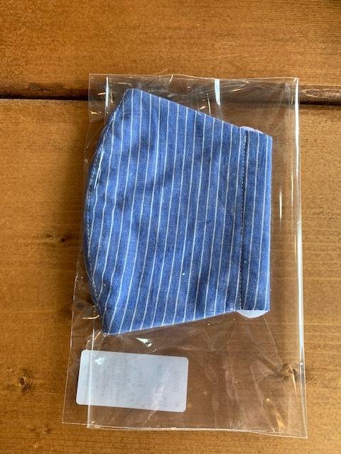 レディースサイズ:ホイップクリーム 日本製 立体マスク ブルーストライプ