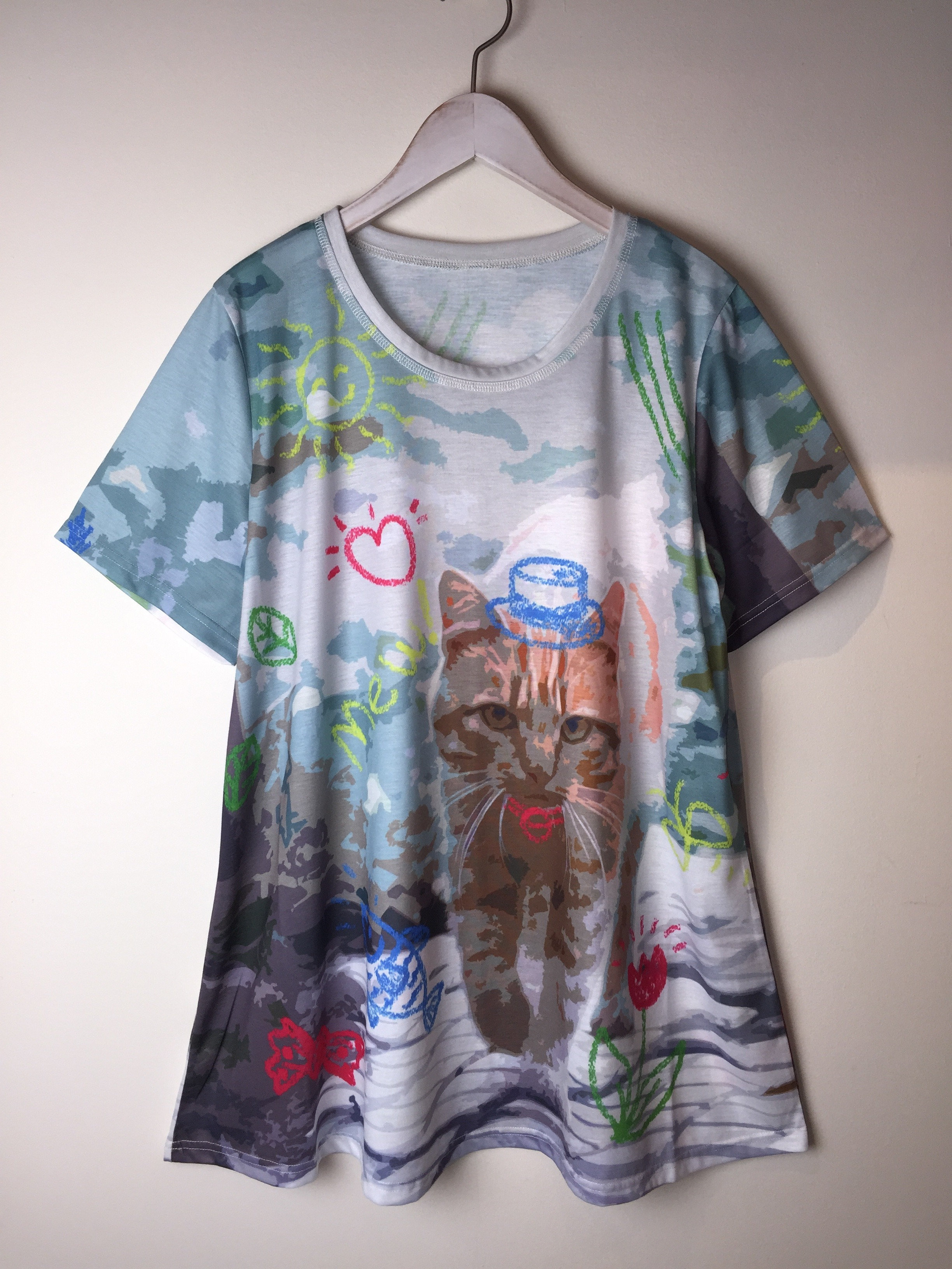 【SALE】ネコT いたずら書き風イラストTシャツ 茶トラ LL【40%OFF】