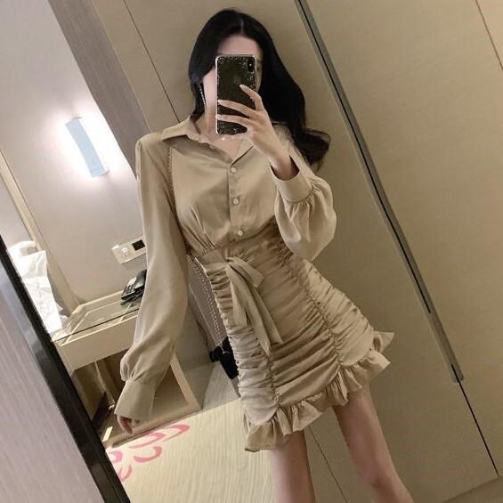 【ワンピース】ファッション無地切り替えセクシーワンピース25054492