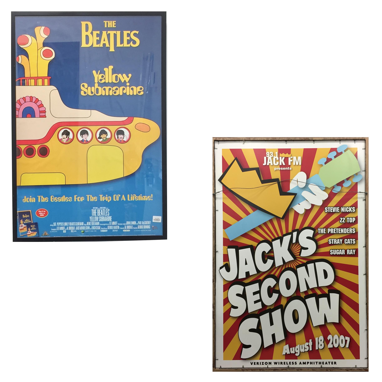 品番5894 The Beatles ビートルズ  表面『Yellow Submarine イエロー・サブマリン』  裏面 93.1ジャックFM 『Jacks Second Show 2007.08.18』 広告 ポスター 壁アート 額装 011