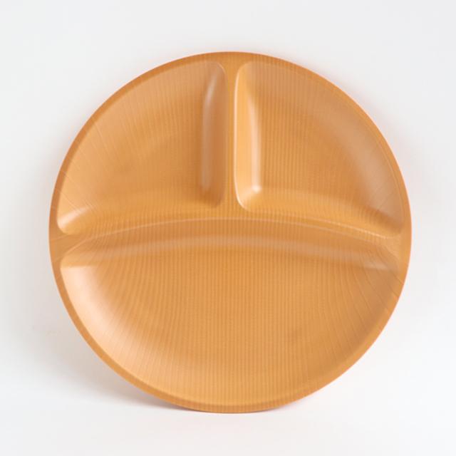 【DA-0390】メラミン樹脂製 25cm三ツ仕切プレート ライトブラウン