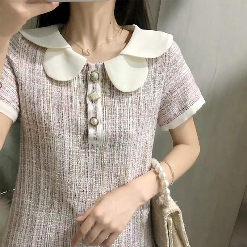 flower collar tweed dress