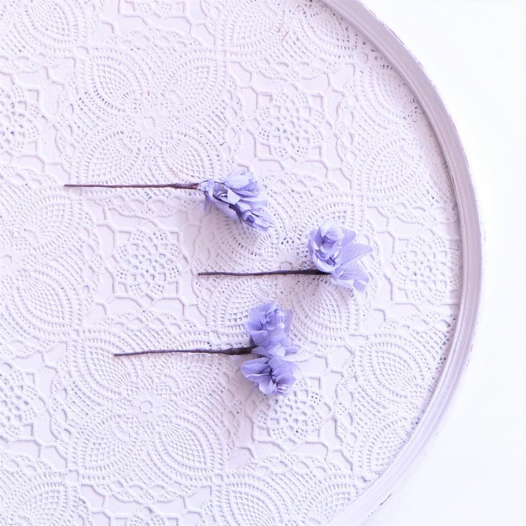 〖 ラベンダー・柏葉アジサイのヘッドドレスパーツ3本 〗お好きなプリザ花材をカスタムメイドでお作り致します