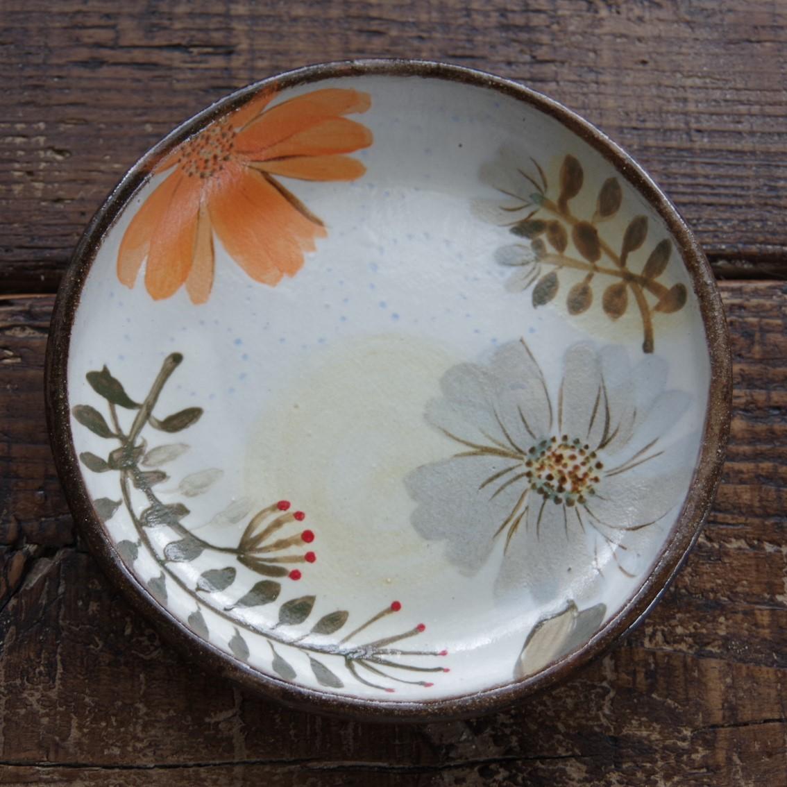 やちむん【工房くばやー】花柄4寸皿