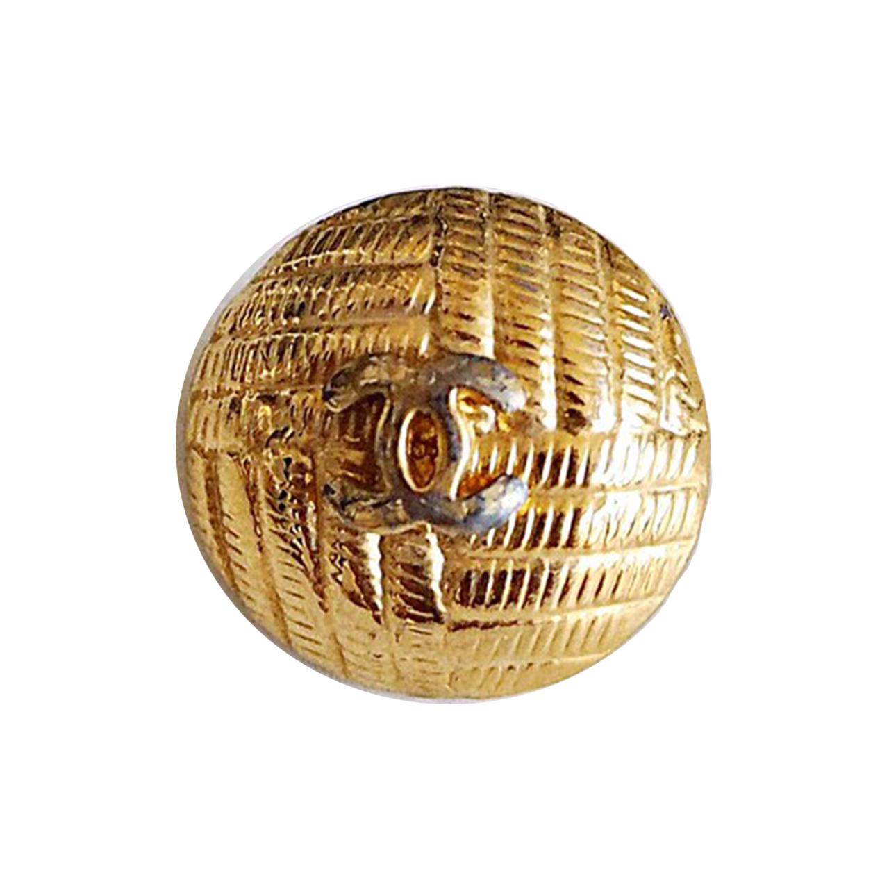 【VINTAGE CHANEL BUTTON】アンティーク ゴールド 織り柄 ボタン