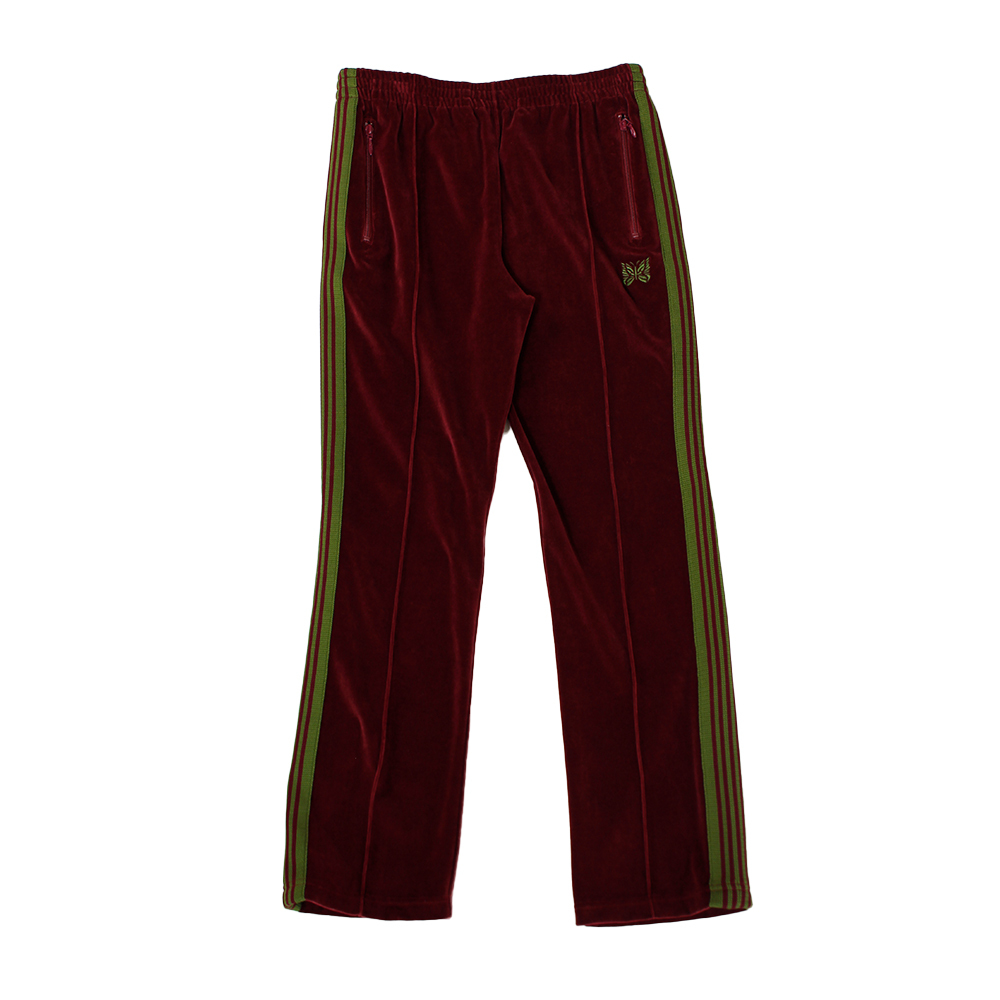 NEEDLES Narrow Track Pant - C/Pe Velour Red