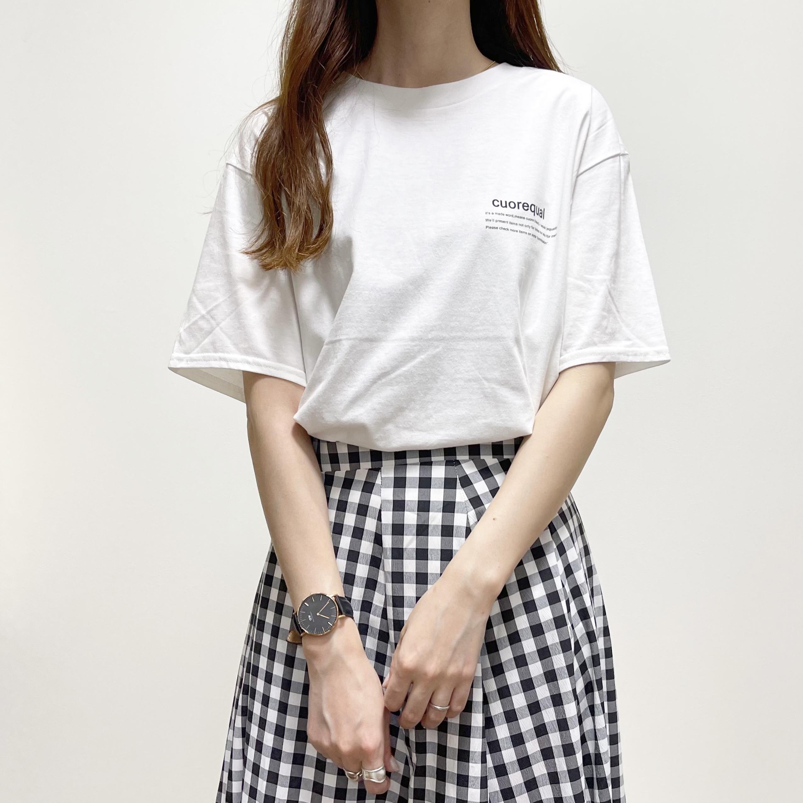 【即納】cuorequalブランド黒色英字ロゴ半袖Tシャツ/期間限定OFF