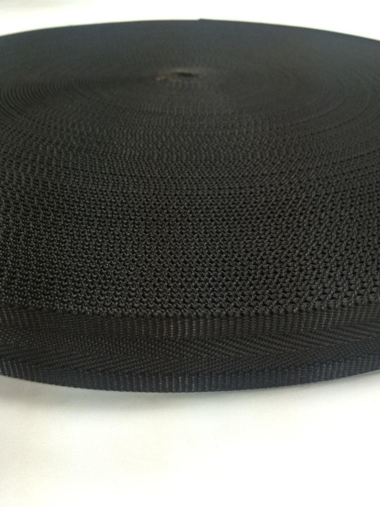 ナイロンベルト 耳付ヘリンボン織 25mm幅 5m単位 黒