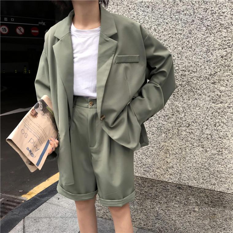 【送料無料】 ハンサム セットアップ♡ オーバーサイズ テーラード ジャケット × ハーフパンツ カジュアル スーツ