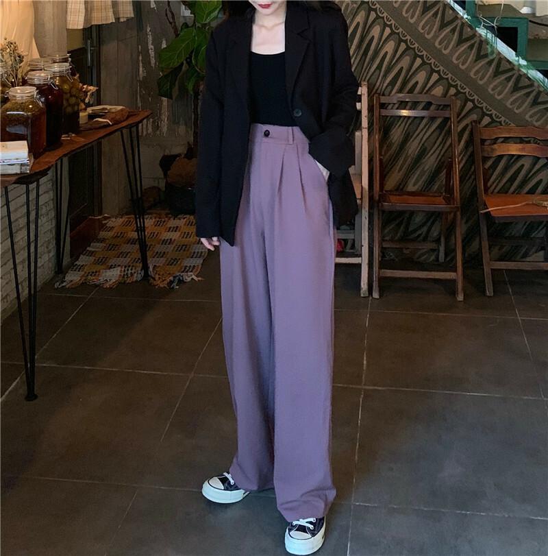 【送料無料】 脚長効果抜群♡ ハイウエスト ワイド カジュアル パンツ 大人っぽ くすみカラー