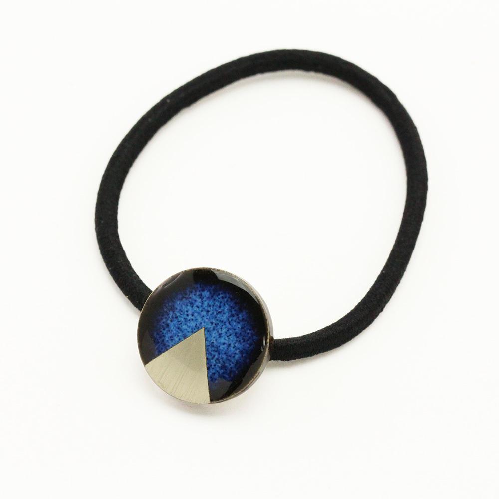 藍色 丸 陶器 月華 ヘアゴム 美濃焼