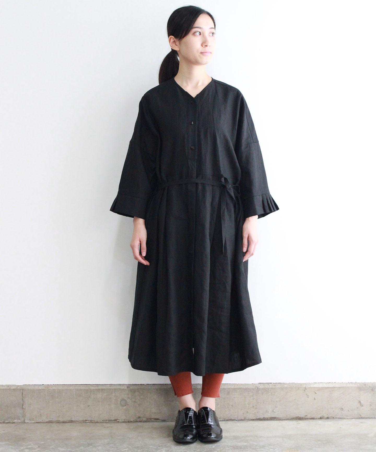 【予約商品】リネンタックカフスワンピースドレス(evi603 BLK・ブラック)