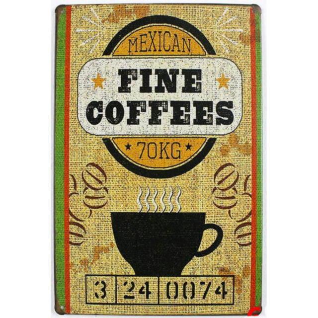 【ブリキ看板】ファインコーヒー・メキシカン70KG 小型版[C62123]