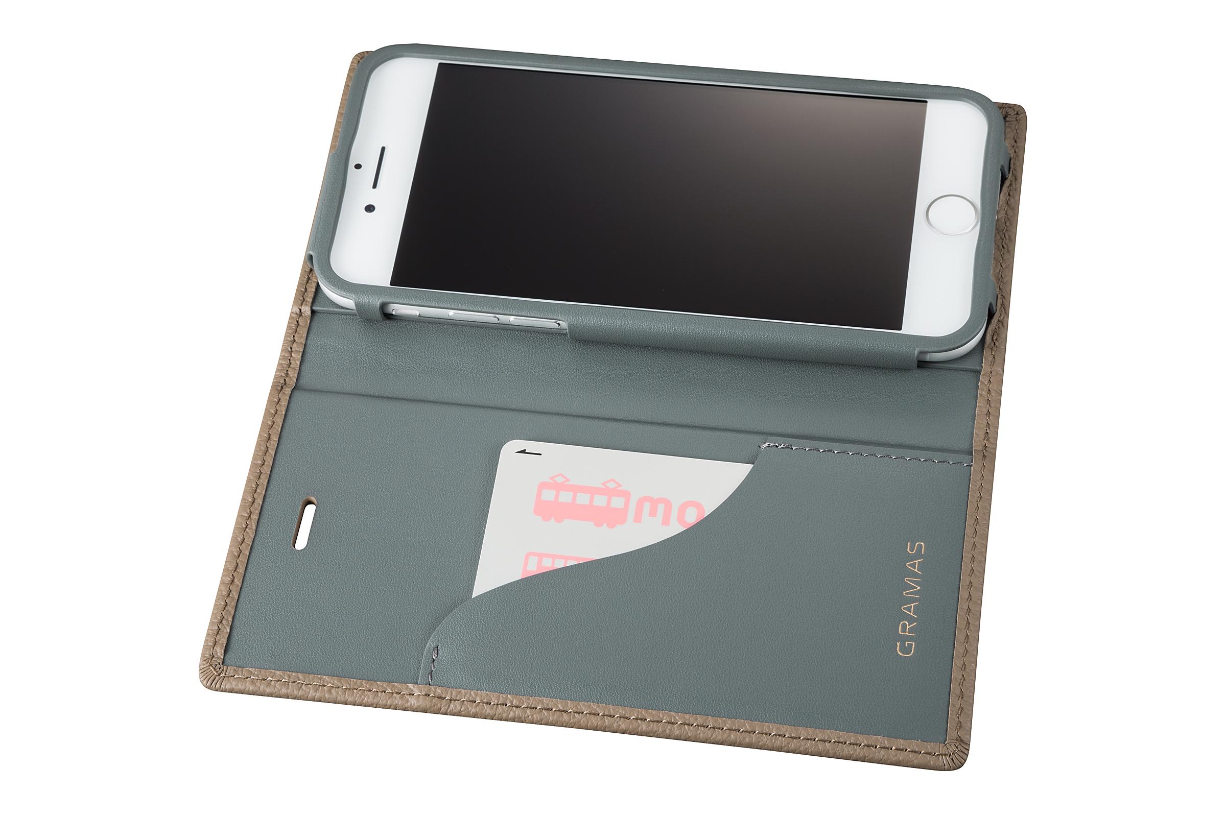 GRAMAS Shrunken-calf Full Leather Case for iPhone 7(Taupe(トープ)) シュランケンカーフ 手帳型フルレザーケース GLC646TP - 画像4