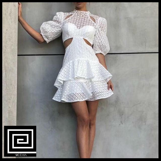 ホワイトレースホローアウトショートドレス