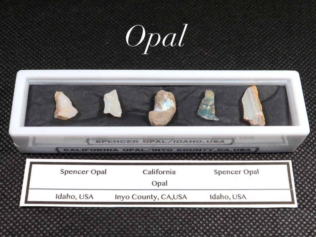 【鉱物標本セット】オパール 2種 スペンサーオパール カリフォルニアオパール ラクタングル#1 原石 宝石 天然石 SCO059 鉱物セット
