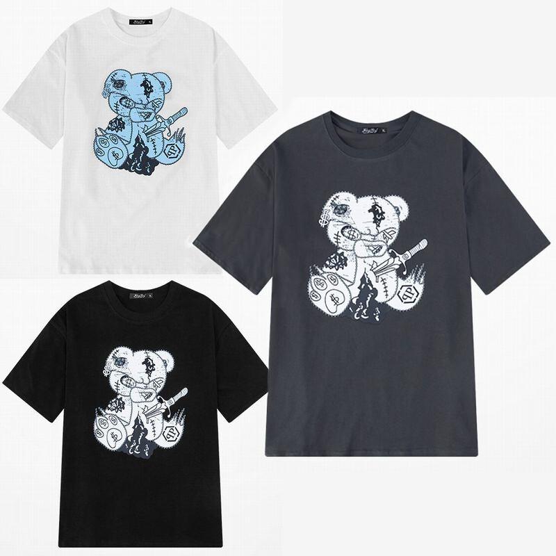 ユニセックス 半袖 Tシャツ メンズ レディース $マーク クマのぬいぐるみ プリント オーバーサイズ 大きいサイズ ルーズ ストリート