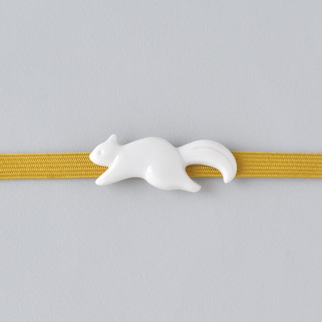 白磁の帯留 リス