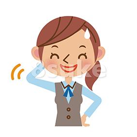 イラスト素材:照れ笑いをするOL・事務スタッフ(ベクター・JPG)