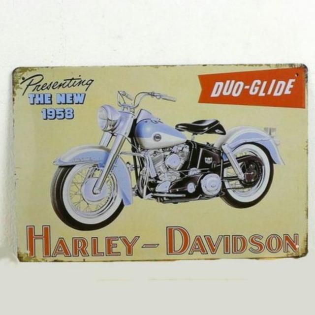 【ブリキ看板】ハーレーダビッドソン・デュオグライド1958 小型版[B24122]