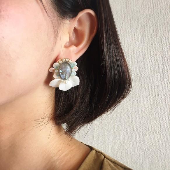 【 トロピカルsummerピアス/ White×Pink 】