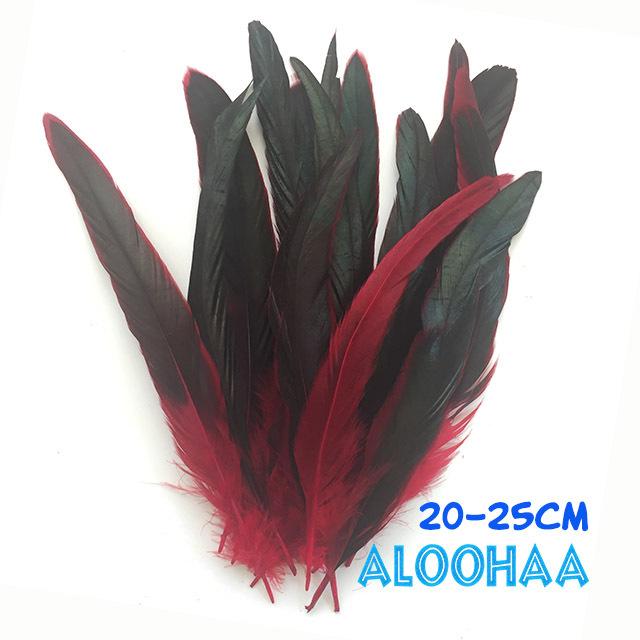 ロングフェザー 【赤】20-25cm タヒチアン 衣装 材料 ルースターテール 染め 羽根