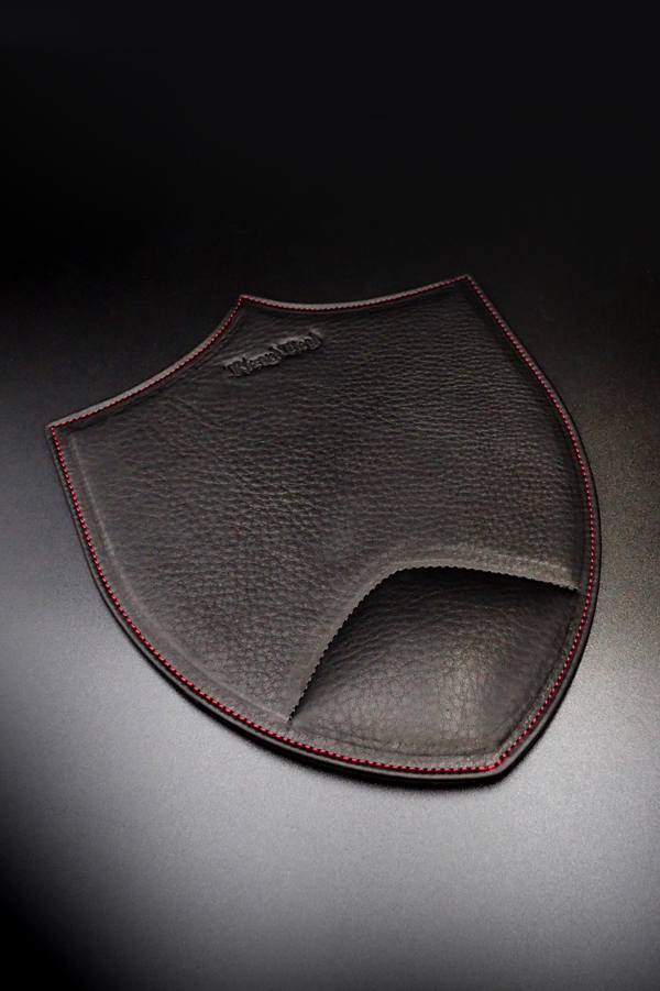Item No.0355:Mouse pad/Baby calf-Black /Red stitch