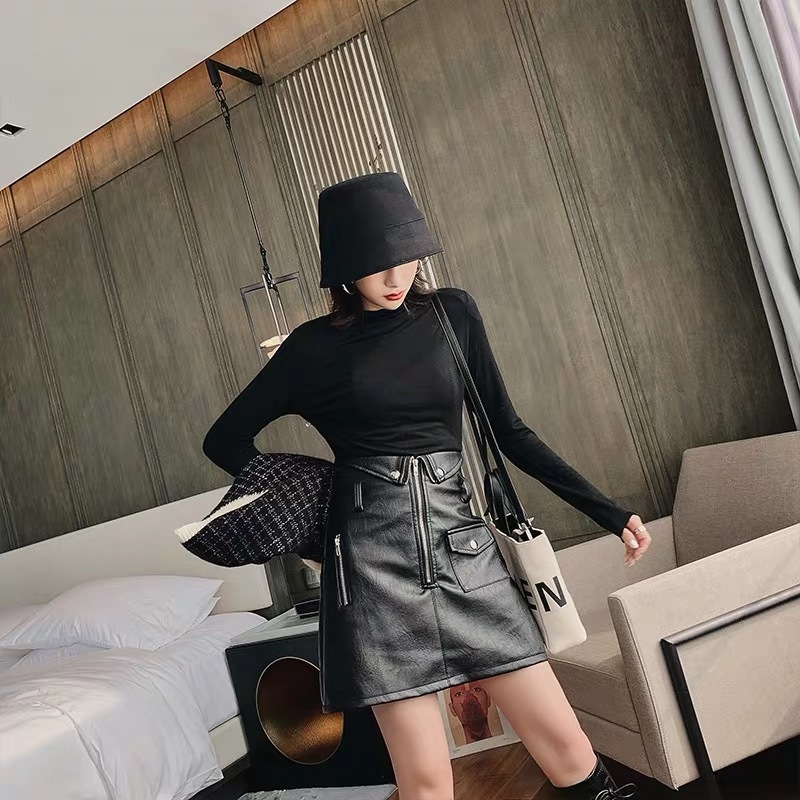 waist switch leather skirt