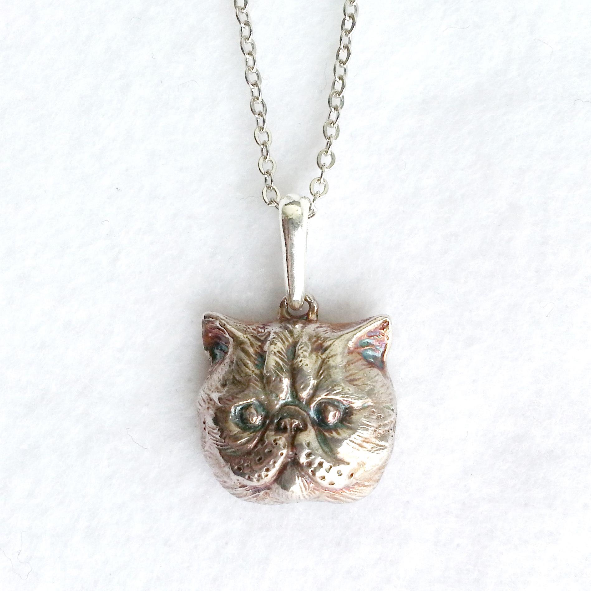 ぺちゃんこねこ・silver925製ペンダント(猫・ネコ・にゃんこ・エキゾチックショートヘア)