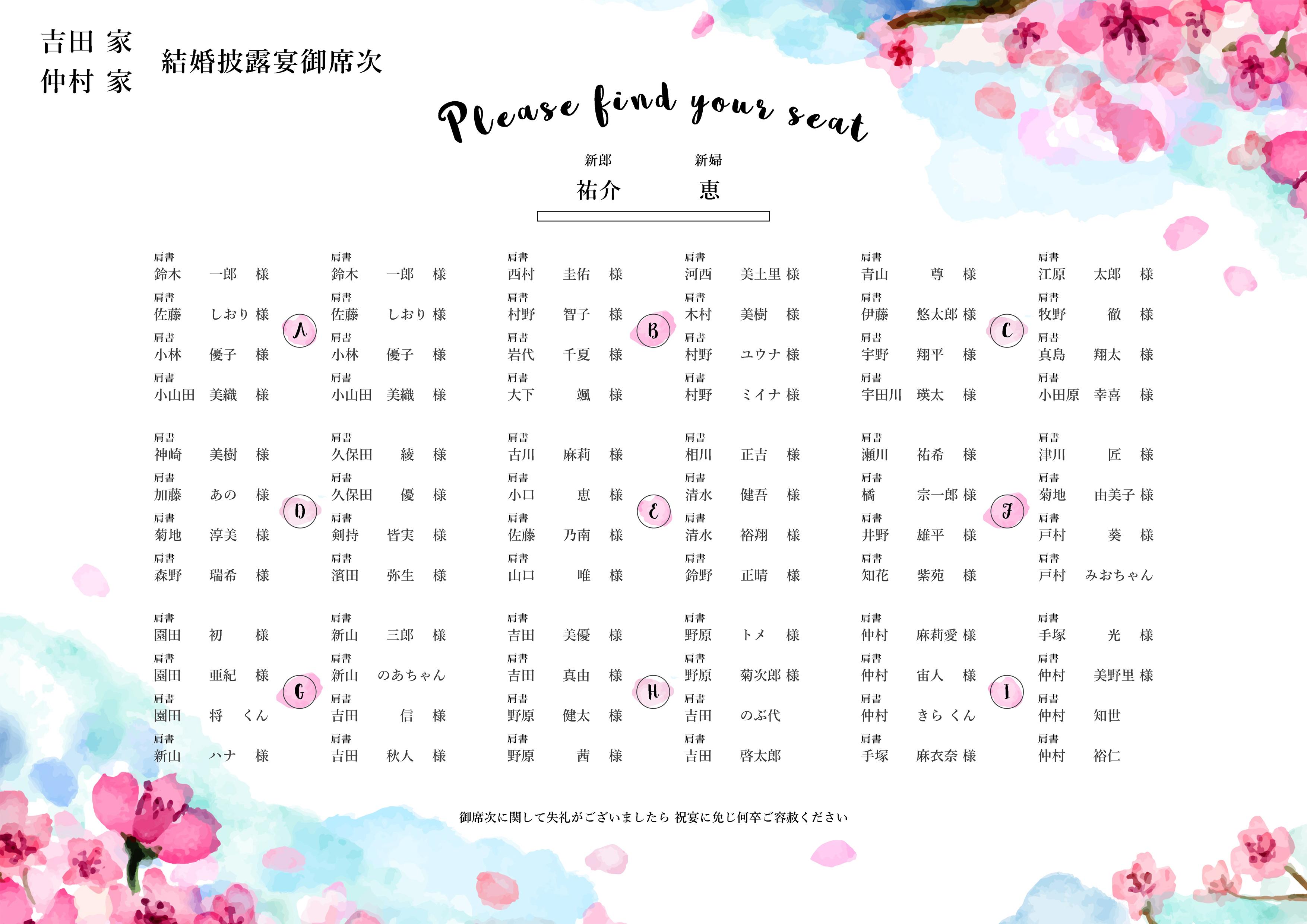 桜舞う シーティングチャート│席次表