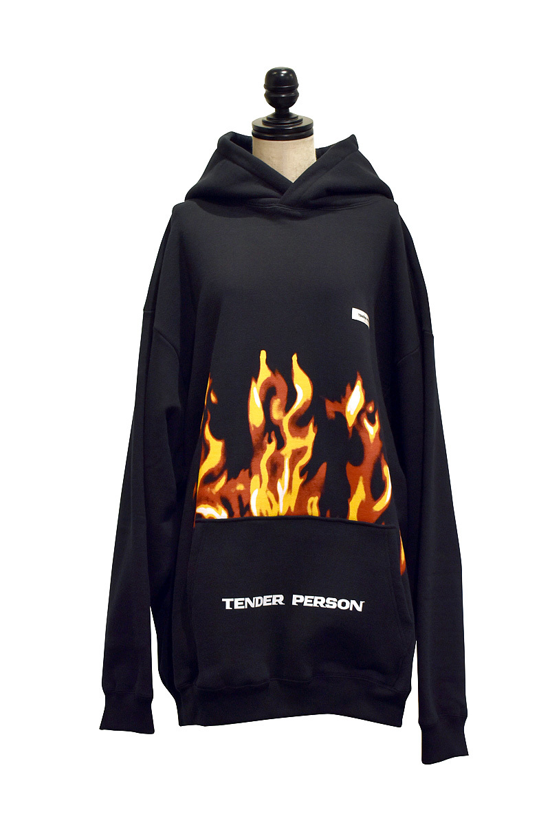 TENDER PERSON / FLAME PATTERN HOODIE / BLACK