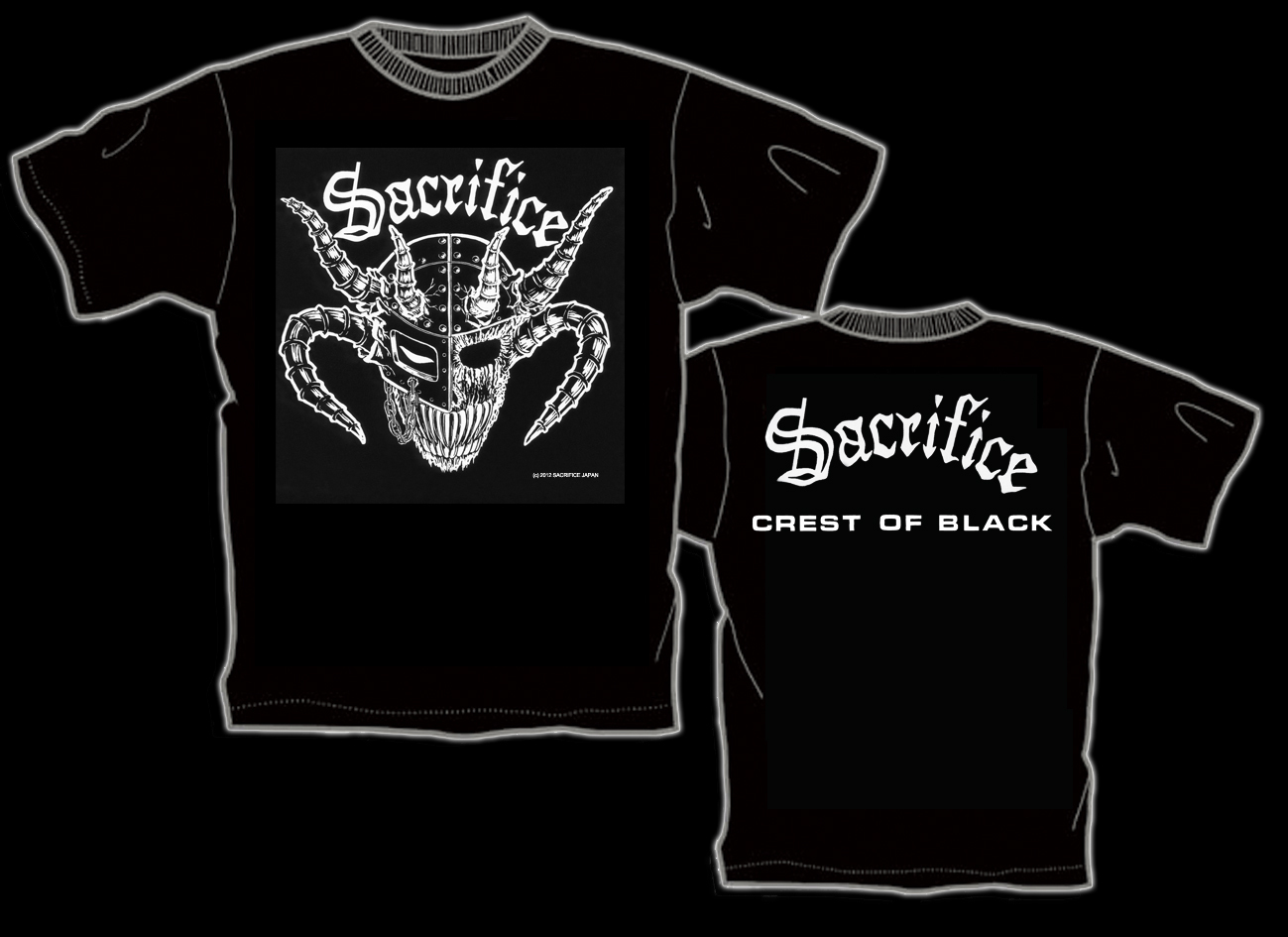"SACRIFICE ""Crest Of Black"" Tシャツ(back: 白)"