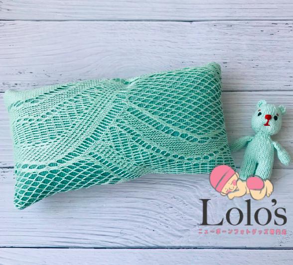 リバーシブル♡春グリーン枕と人形セット