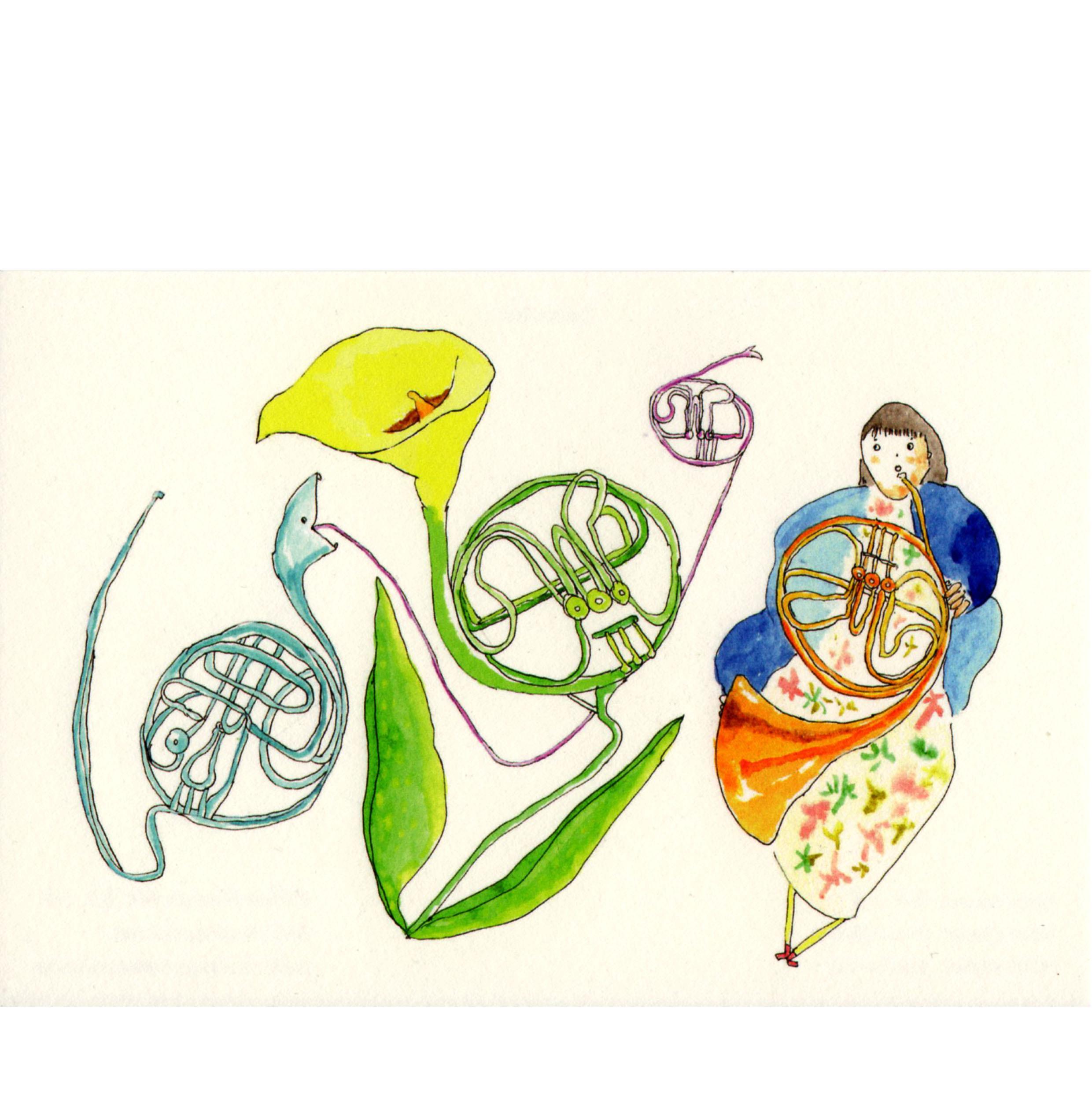 ホルン花 ホルン奏者と ホルンヘビ Horn flower Horn player Horn snake