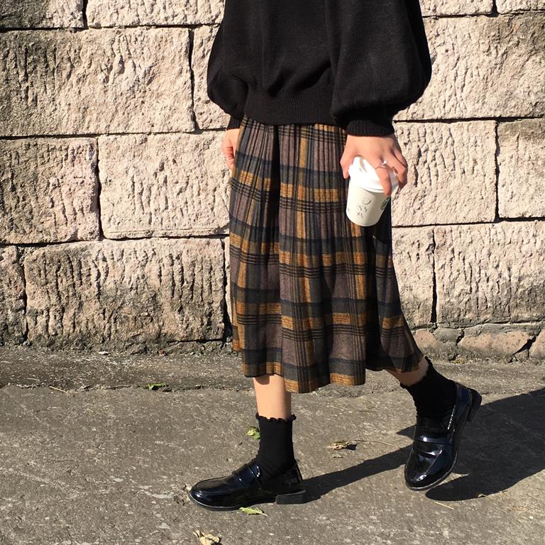 【送料無料】レトロチックでお洒落♡ プリーツスカート チェック柄 ミモレ丈