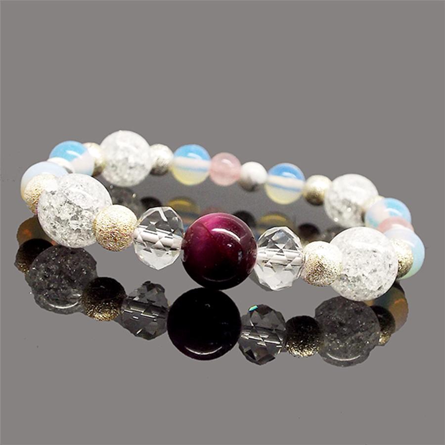【恋愛運上昇】天然石ピンクタイガーアイ&クラック水晶 ブレスレット(10mm)