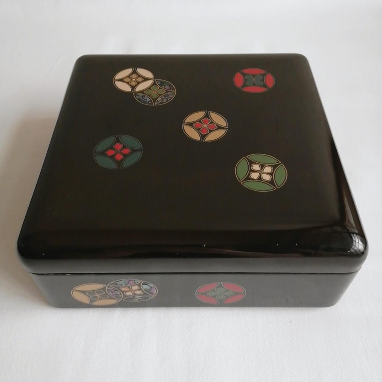 昭和レトロ 漆塗 螺鈿細工の箱