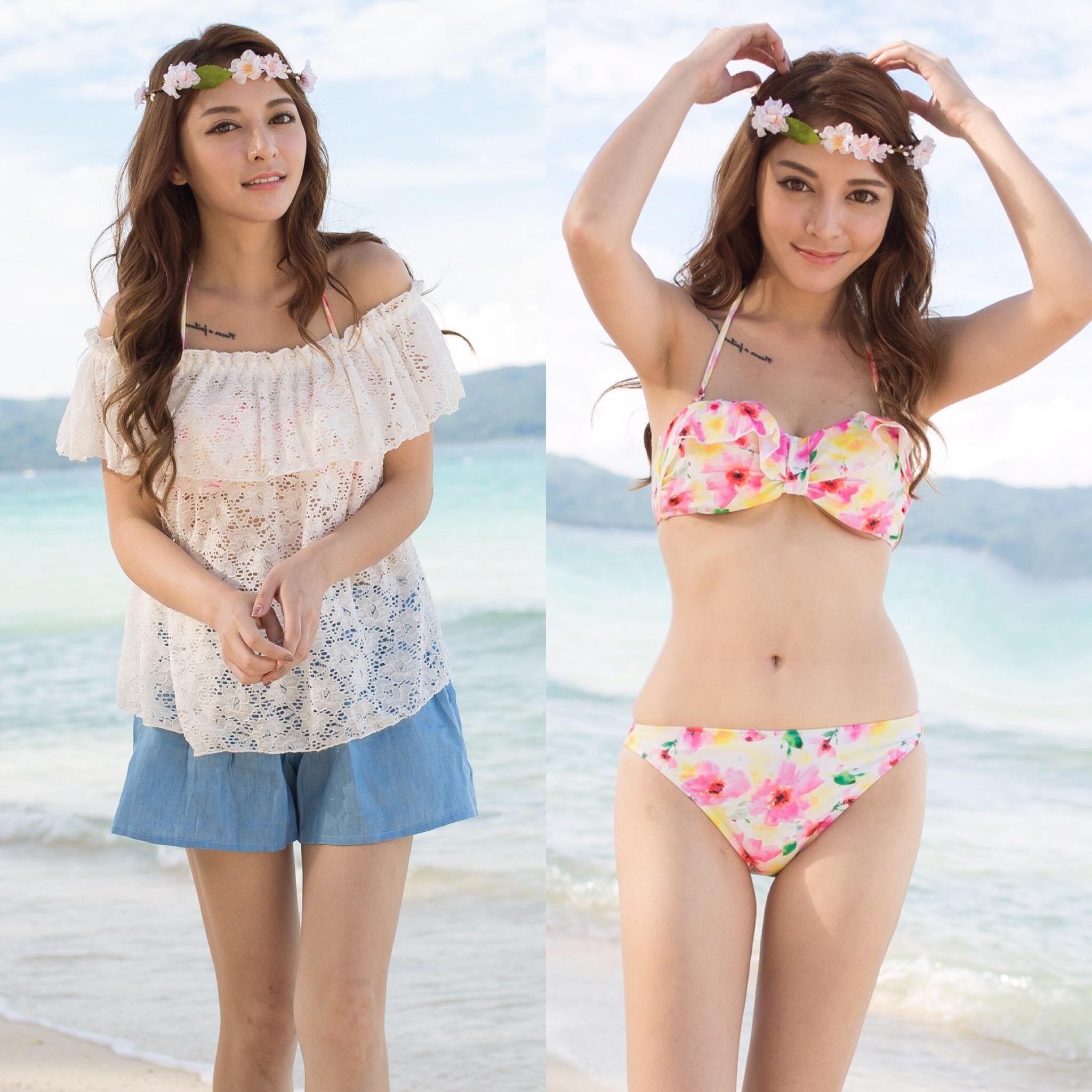 【SALE】4点セット水着☆オフショルトップス+花柄ビキニ ピンク