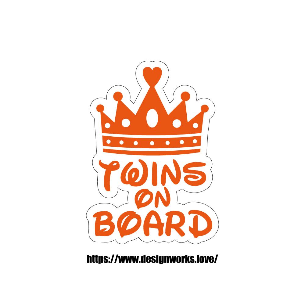 マグネット 全8色 TWINS ON BOARD ティアラ 王冠