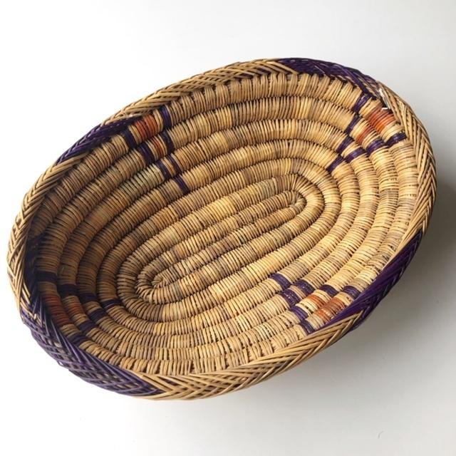 モロッコ 編み込み楕円バスケットM (柄) W30cm