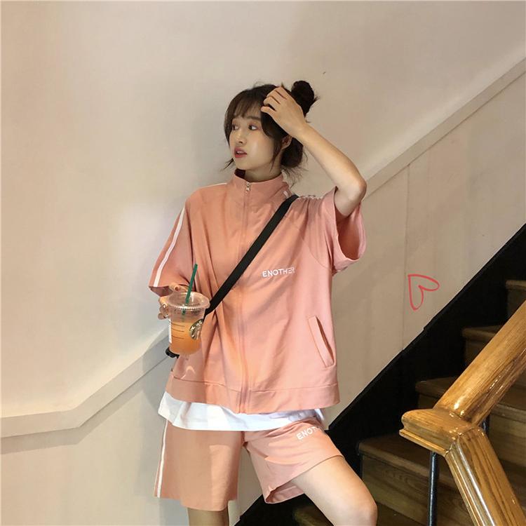 【送料無料】 おしゃれジャージ♡ ゆるだぼ ロゴ入り 五分袖 スポーティー オーバーサイズ ジャージ セットアップ