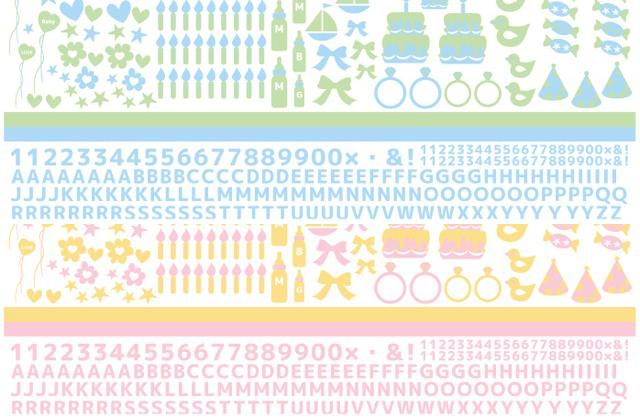 【割引】ベビー&アルファベット2色セット (ポーセリンアート用転写紙)