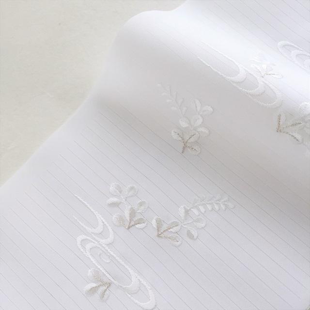 夏用 絽 刺繍半衿 白色_萩