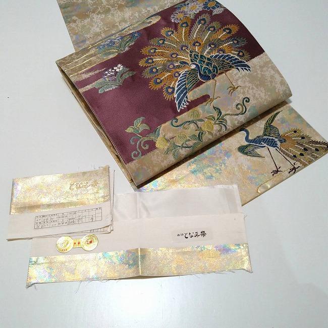 ★美品 袋帯 となみ 孔雀 正絹 金彩 箔  ★ c034
