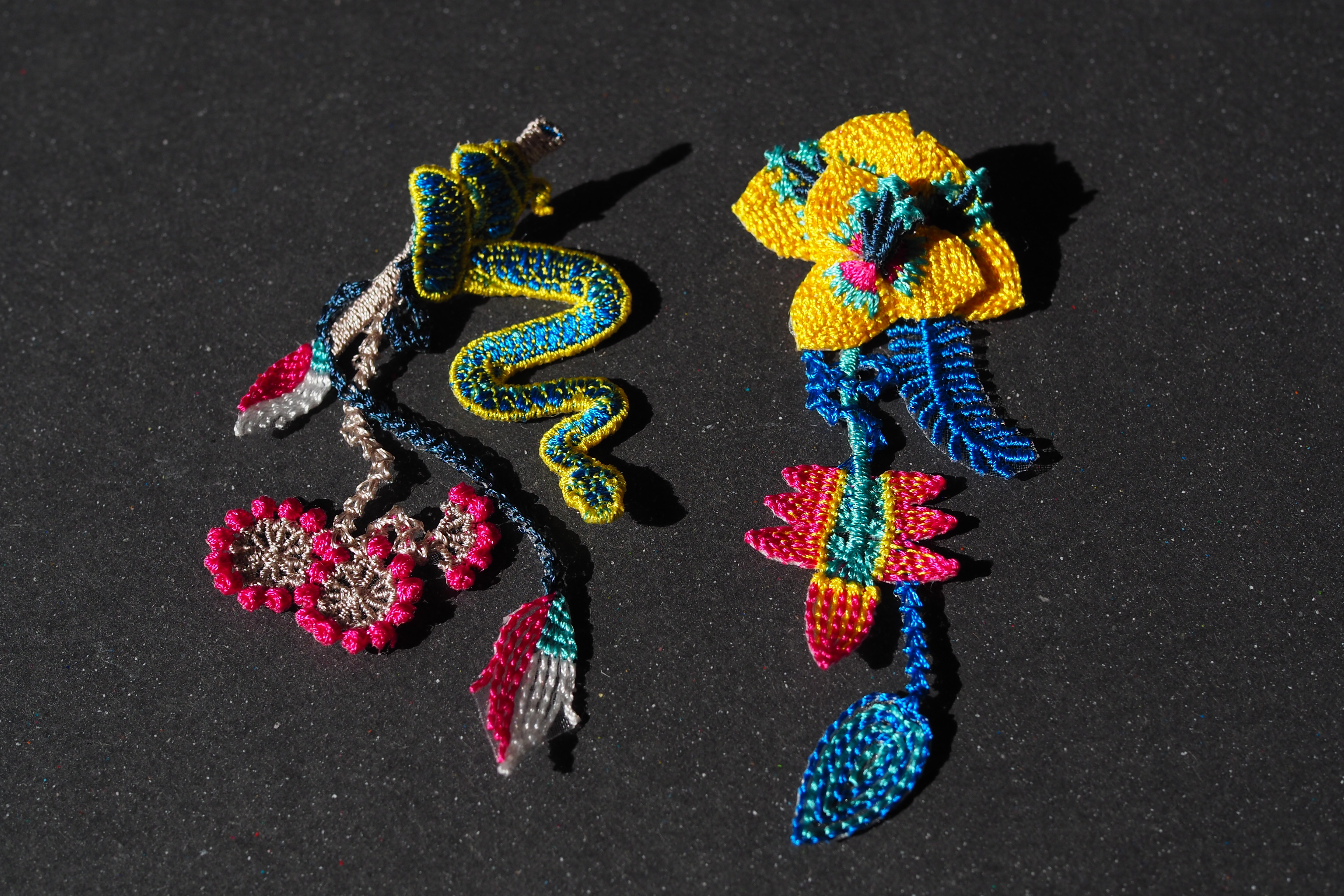 ARRO / Embroidery earring / GARDEN / yellow