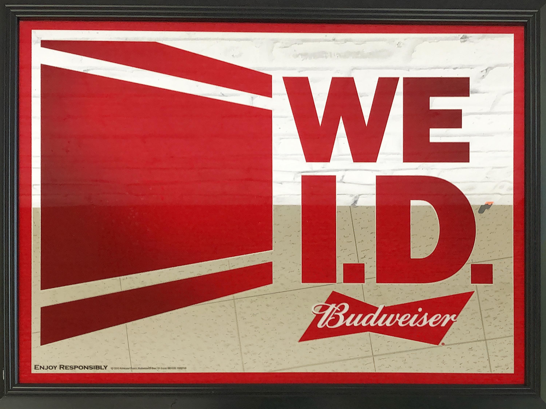品番1276 パブミラー 『WE I.D. Budweiser』 バドワイザー  壁掛 アート ディスプレイ 看板