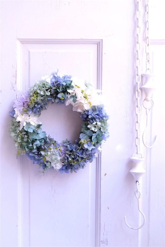 再入荷・紫陽花のグラデーションリース〖 Azur アジュール 〗プリザーブドフラワーアレンジギフト