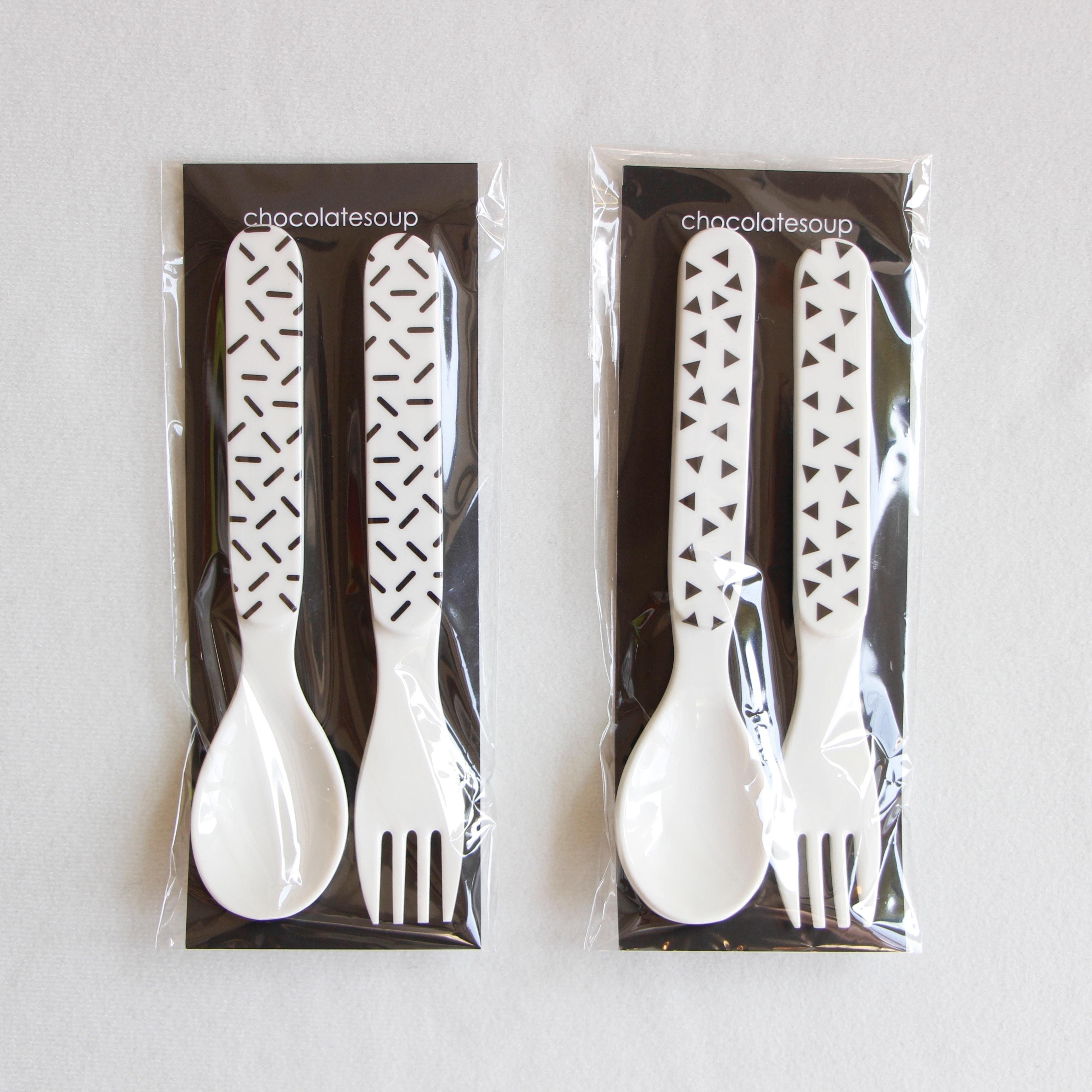 《chocolatesoup》GEOMETRY MELAMINE SPOON & FORK
