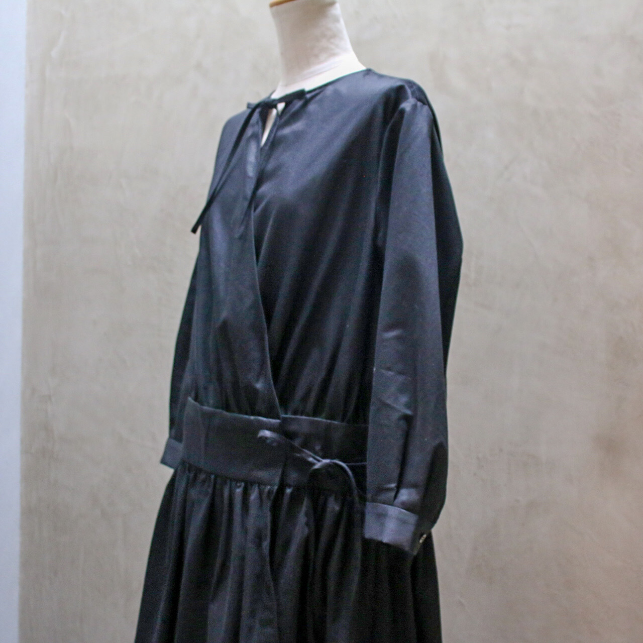TENNE HANDCRAFTED MODERN Cash our Dress #015  black カシュクールドレス