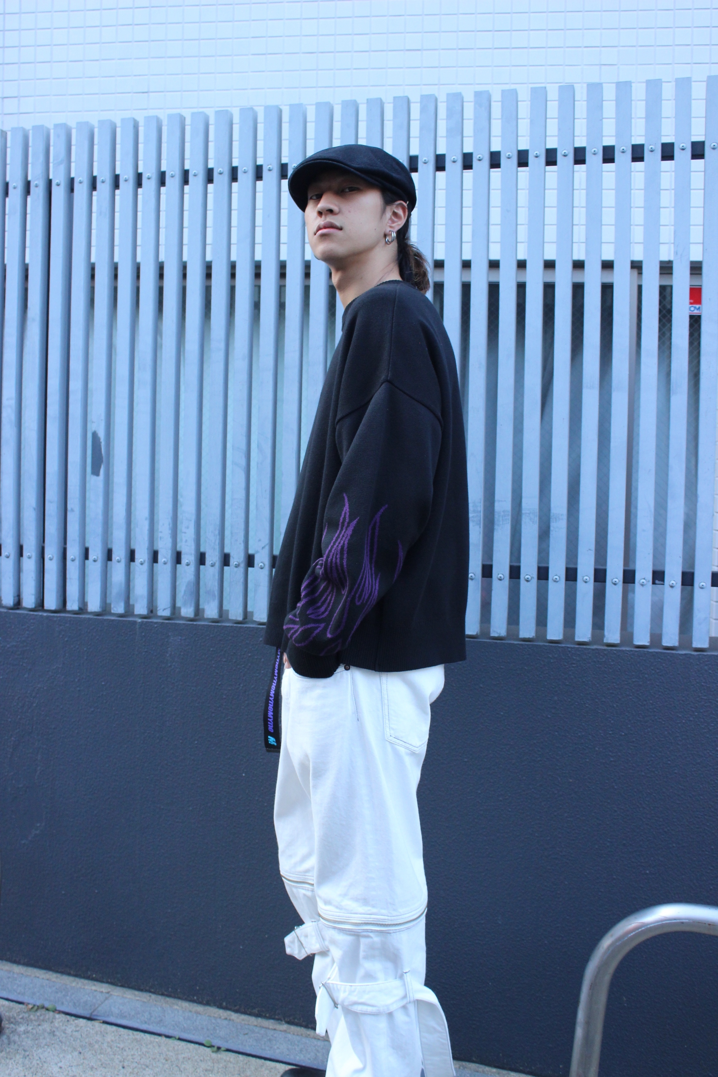 Fire knit pullover / BLACK - 画像2